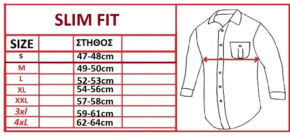Sizechart - Slim Fit